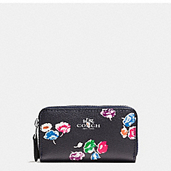 SMALL DOUBLE ZIP COIN CASE IN WILDFLOWER PRINT COATED CANVAS - f65442 - SILVER/RAINBOW MULTI