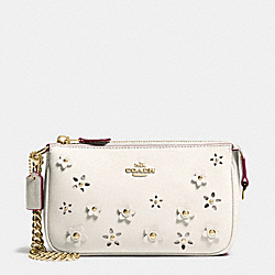 COACH LARGE WRISTLET 19 IN FLORAL APPLIQUE LEATHER - IMITATION GOLD/CHALK - F65471