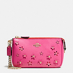 COACH LARGE WRISTLET 19 IN FLORAL APPLIQUE LEATHER - IMITATION GOLD/DAHLIA - F65471