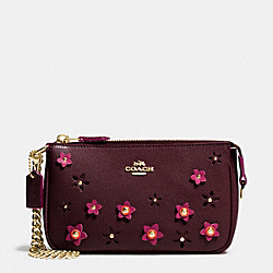 COACH LARGE WRISTLET 19 IN FLORAL APPLIQUE LEATHER - IMITATION GOLD/OXBLOOD 1 - F65471