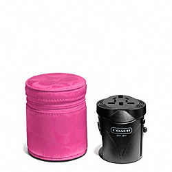 COACH F65480 Signature Nylon Travel Adaptor SILVER/HOT PINK