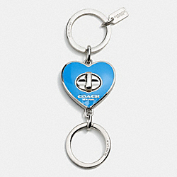 COACH F65502 - ENAMEL TURNLOCK HEART VALET KEY RING SILVER/AZURE