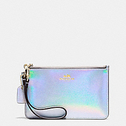 CORNER ZIP WRISTLET IN HOLOGRAM LEATHER - f65517 - IMITATION GOLD/SILVER HOLOGRAM