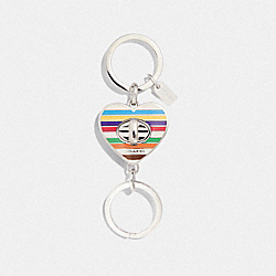 PRINTED TURNLOCK HEART VALET KEY RING - F65518 - AZURE/CHALK MULTI/SILVER