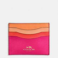 COACH F65527 Card Case In Rainbow Colorblock Leather IMITATION GOLD/ATLANTIC MULTI