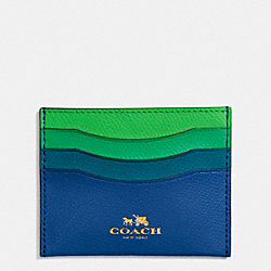 COACH F65527 Card Case In Rainbow Colorblock Leather IMITATION GOLD/FUCHSIA MULTI