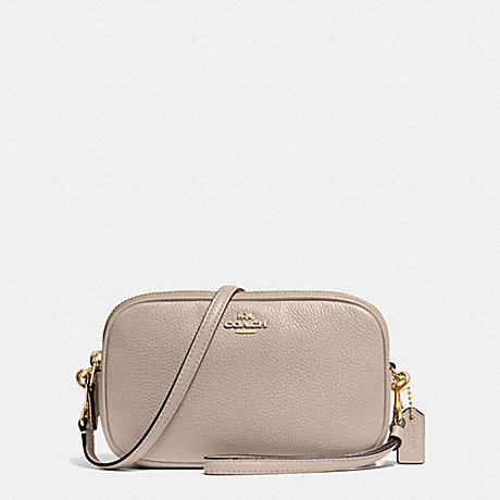 COACH f65547 CROSSBODY CLUTCH IN POLISHED PEBBLE LEATHER SILVER/GREY BIRCH