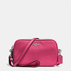 COACH F65547 Crossbody Clutch In Pebble Leather SILVER/DAHLIA