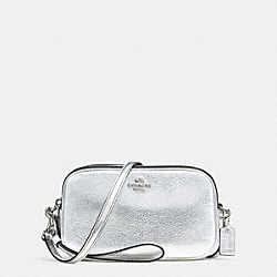 CROSSBODY CLUTCH IN PEBBLE LEATHER - f65547 - SILVER/SILVER