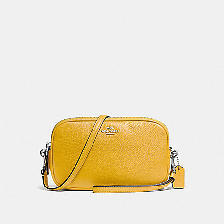 COACH f65547 CROSSBODY CLUTCH SILVER/YELLOW