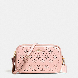 COACH F65553 Crossbody Pouch In Laser Cut Leather  IMITATION GOLD/PEACH ROSE GLITTER