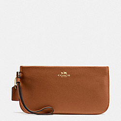COACH LARGE WRISTLET IN CROSSGRAIN LEATHER - IMITATION GOLD/SADDLE - F65555