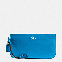COACH F65555 Large Wristlet In Crossgrain Leather SILVER/AZURE