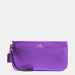 COACH F65555 Large Wristlet In Crossgrain Leather SILVER/PURPLE