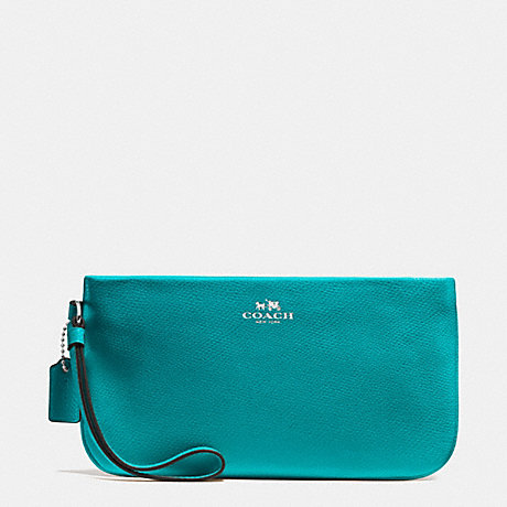 COACH f65555 LARGE WRISTLET IN CROSSGRAIN LEATHER SILVER/TURQUOISE