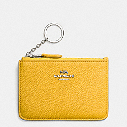 KEY POUCH IN POLISHED PEBBLE LEATHER - f65566 - SILVER/CANARY