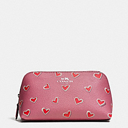 COACH F65572 Cosmetic Case 17 In Heart Print Coated Canvas SILVER/PINK