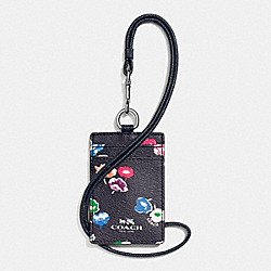 COACH F65573 Lanyard Id In Wildflower Print Coated Canvas SILVER/RAINBOW MULTI
