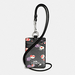 COACH F65573 Lanyard Id In Wildflower Print Coated Canvas SILVER/BLACK MULTI