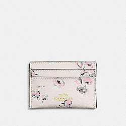 COACH F65574 Flat Card Case In Wildflower Print Coated Canvas IMITATION GOLD/CHALK MULTI