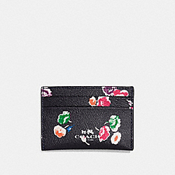 COACH F65574 Flat Card Case In Wildflower Print Coated Canvas SILVER/RAINBOW MULTI