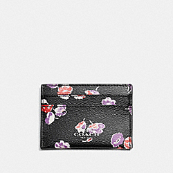 COACH F65574 Flat Card Case In Wildflower Print Coated Canvas SILVER/BLACK MULTI