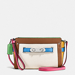 COACH F65585 Coach Swagger Wristlet In Rainbow Colorblock Leather SILVER/CHALK MULTI