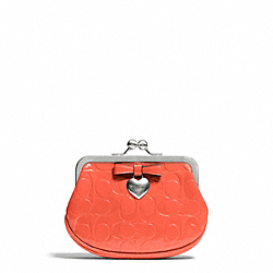 COACH F65657 Embossed Liquid Gloss Framed Coin Purse SILVER/HOT ORANGE