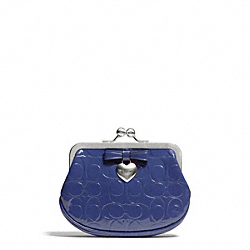 COACH F65657 Embossed Liquid Gloss Framed Coin Purse SILVER/NAVY