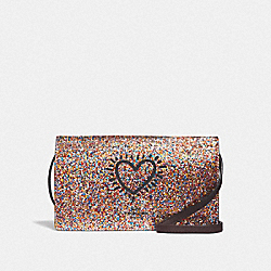 KEITH HARING HAYDEN FOLDOVER CROSSBODY CLUTCH - F65687 - MULTI/BLACK ANTIQUE NICKEL