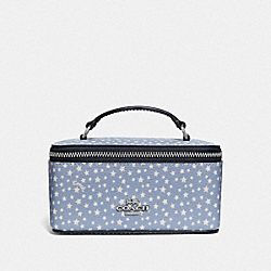 COACH F65688 Vanity Case With Ditsy Star Print BLUE MULTI/SILVER