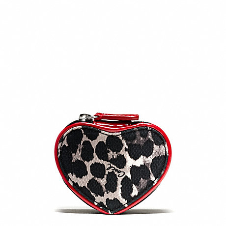 COACH F65708 PARK OCELOT PRINT HEART JEWELRY POUCH ONE-COLOR