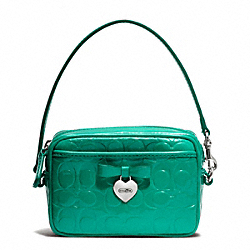 COACH EMBOSSED LIQUID GLOSS EAST/WEST MULTI POUCH - SILVER/BRIGHT JADE - F65715