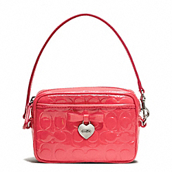 COACH F65715 Embossed Liquid Gloss East/west Multi Pouch SILVER/CORAL