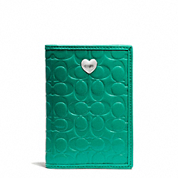 COACH F65718 Embossed Liquid Gloss Passport Case SILVER/BRIGHT JADE
