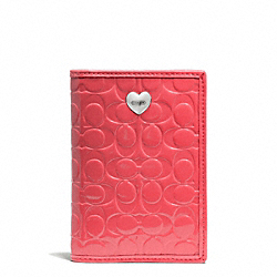 COACH F65718 Embossed Liquid Gloss Passport Case SILVER/CORAL
