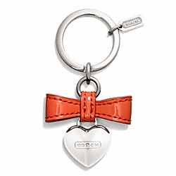 COACH F65740 - BOW HEART CHARM KEY RING ONE-COLOR