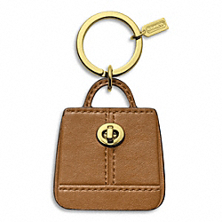 COACH F65741 Park Handbag Key Ring BRASS/BRITISH TAN