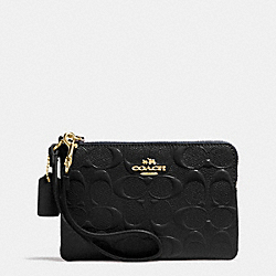 COACH F65752 Corner Zip Wristlet In Signature Debossed Patent Leather  IMITATION GOLD/BLACK