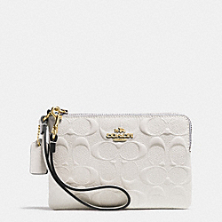 COACH F65752 Corner Zip Wristlet In Signature Debossed Patent Leather IMITATION GOLD/CHALK