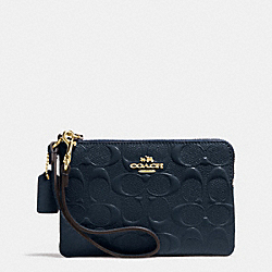 COACH F65752 Corner Zip Wristlet In Signature Debossed Patent Leather IMITATION GOLD/MIDNIGHT