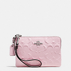 COACH F65752 Corner Zip Wristlet In Signature Debossed Patent Leather SILVER/PETAL