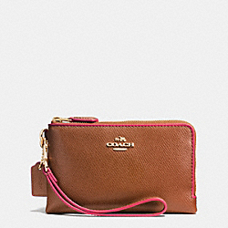 COACH F65755 Double Corner Zip Wristlet In Edgepaint Crossgrain Leather IMITATION GOLD/SADDLE/DAHLIA