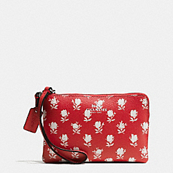 COACH F65761 Corner Zip Wristlet In Badlands Floral Print Coated Canvas SILVER/CARMINE MULTI