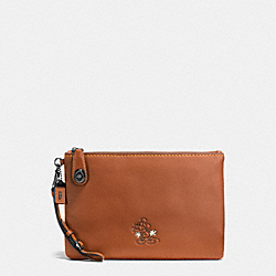 COACH F65792 Mickey Turnlock Wristlet In Glovetanned Leather DK/1941 SADDLE