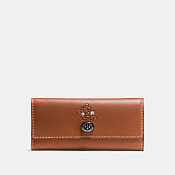 COACH F65793 - MICKEY TURNLOCK WALLET IN SMOOTH LEATHER DK/1941 SADDLE