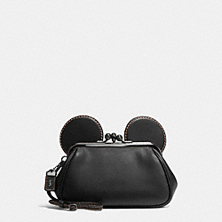 COACH F65794 Mickey Kisslock Wristlet In Smooth Leather DARK GUNMETAL/BLACK