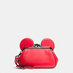 COACH F65794 Mickey Kisslock Wristlet In Smooth Leather DARK GUNMETAL/1941 RED