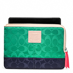 COACH F65860 Legacy Weekend Colorblock Nylon L-zip E-reader Sleeve SILVER/JADE/NAVY