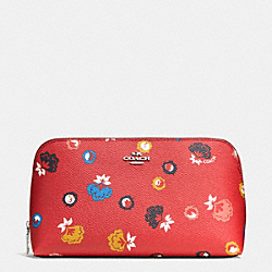 COACH F65877 Cosmetic Case 22 In Wild Prairie Print Coated Canvas SILVER/CARMINE WILD PRAIRIE